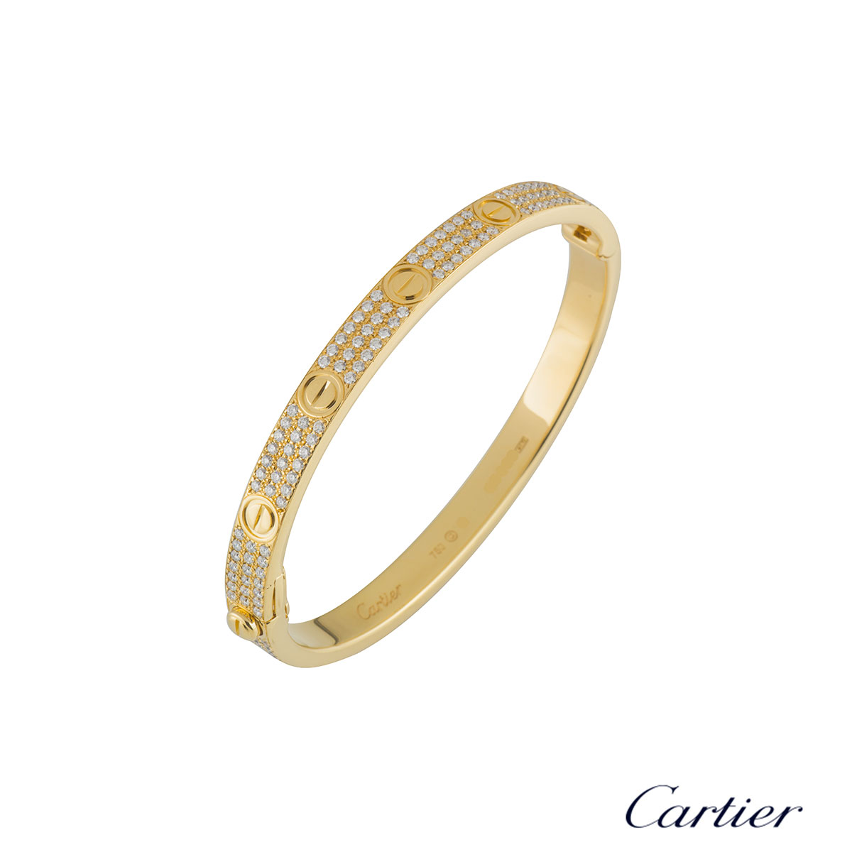 Cartier Yellow Gold Pave Diamond Love Bracelet Size 18 N6035018